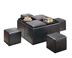 Homelegance Claire Square Storage Cocktail Ottoman
