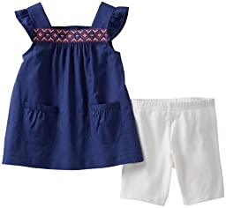 Carter\'s 2 Piece Embroidered Shorts Set (Baby) - Navy-12 Months