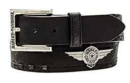 Harley-Davidson Mens Belt, Antique Nickel Aviator, Black Leather HDMBT10706 (46)