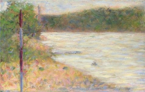 Oil Painting 'Georges Seurat - A River Bank (The Seine At Asnieres),about 1883' Printing On High Quality Polyster Canvas , 20x32 Inch / 51x80 Cm ,the Best Nursery Artwork And Home Decoration And Gifts Is This Replica Art DecorativePrints On Canvas