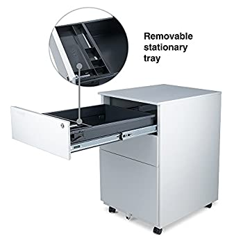 Aurora Modern SOHO Design 3-Drawer Metal Mobile File Cabinet with Lock Key Fully Assembled, White (FC-103WT)