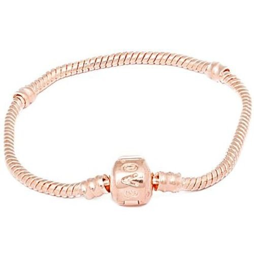 Charm Buddy 19cm Rose Gold Plated Charm Bracelet with Love Snap Clasp Fits Pandora Troll European Charm Beads