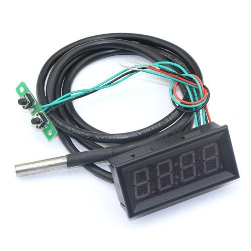 "18B20 Probe Fahrenheit Scale 0.56"" Digital Voltage Temp Gauge Car Clock 3In1 12 Volt Temperature Meter Blue Led front-73855"