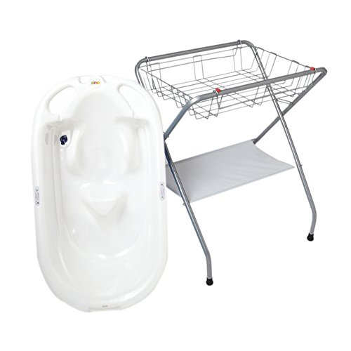 Primo Eurobath And Folding Compact Bath Stand -White Bath / Gray Stand