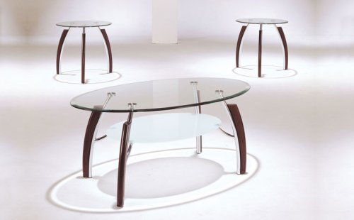 3pc Coffee Table & End Table Set Chrome Cherry Finish