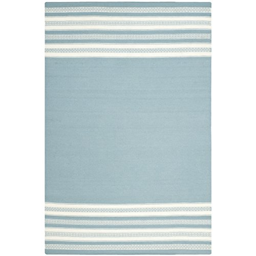 Safavieh Dhurries Collection DHU601C Hand Woven Turquoise Wool Area Rug, 3 feet by 5 feet (3' x 5')