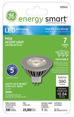 G E Lighting 89945 Ge 7W Mr16 Led Bulb - Quantity 3