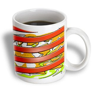 Jos Fauxtographee Abstract - Orange Stripes In Plastic Effect With Gold And Green Layered And Beveled Swirl In Background - 11Oz Mug (Mug_49618_1)