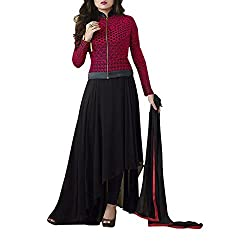 Destiny Enterprise Embroidered Gorgette Black Color Party Wear Stitched Salwar Suit for Women