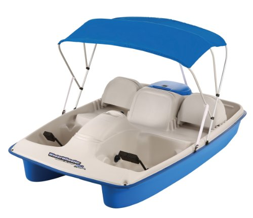 Sun Dolphin Water Wheeler Electric ASL 5 Person Pedal Boat with Canopy (Blue)