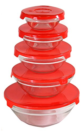5 Piece Glass Bowl Set With Matching Red Plastic Lids (5 Piece Glass Bowl Set compare prices)