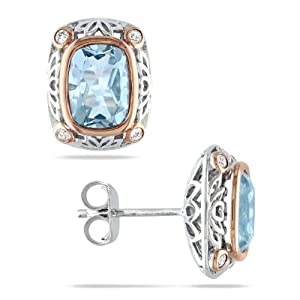 Sterling Silver, Pink Rhodium Plated, Diamond and Blue Topaz Earrings, (.12 cttw, GH Color, I3 Clarity)