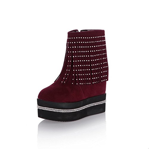 Voguezone009 Womens Round Closed Toe High Heels Short Plush Solid Boots With Tassels And Glass Diamond, Claret, 39