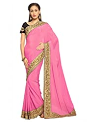 Designersareez Women Crepe Embroidered Pink Saree With Unstitched Blouse(1476)