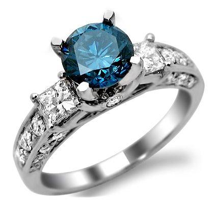 1.90Ct Blue Round Diamond 3 Stone Engagement Ring 14K White Gold