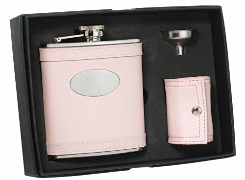 visol-onida-leather-deluxe-flask-gift-set-6-ounce-pink