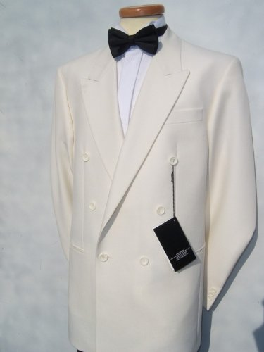 Mens White Double Breasted Dinner Tuxedo Jacket