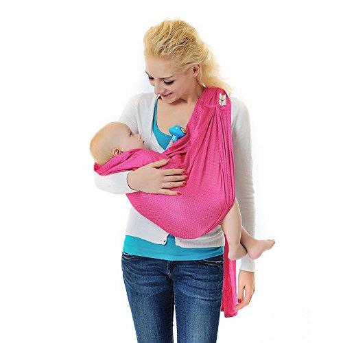 Xcellent Global Fascia portabebšš con anello - 100% Poliestere, asciugatura veloce, comoda, leggera, traspirante e resistente - adatta per neonati e bambini fino a 20kg, regalo per bambini, rosa HG121P