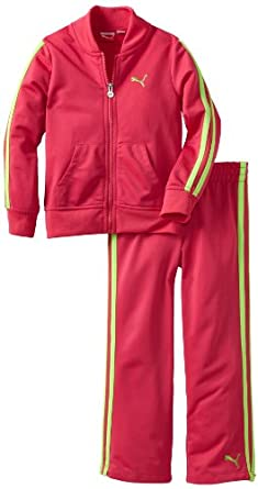 PUMA Girls 2-6x Pant Jacket And Tricot Track Set, Beet Purple, 6