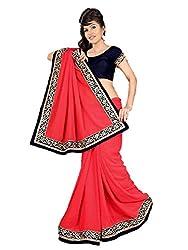 Aarya Designer Women's Georgette Saree (1004_Pink_Freesize)