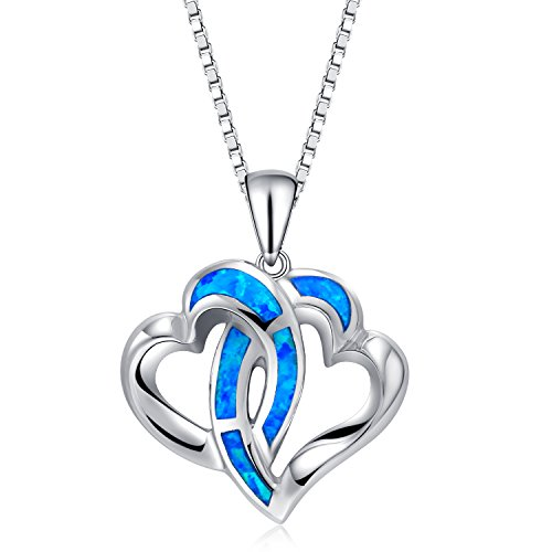 Z&T I Love You Necklace - 925 Sterling Silver Created Blue Opal Birthstone Heart Shaped Pendant