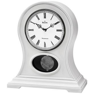 Allaire Antique White Mantel Clock with Triple-chime movement