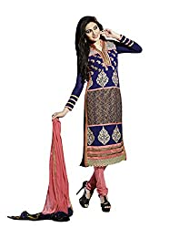 NIK CREATION Women's Georgette Semi-Stitched Classic Embroidered Suit