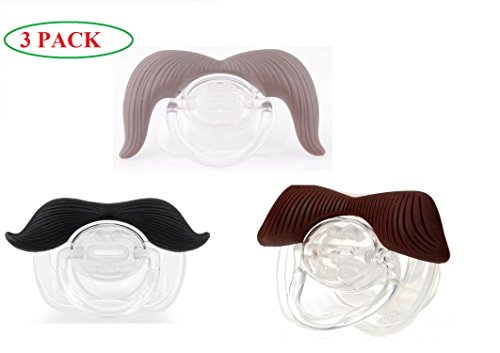 (3 PACK) The Best Mustache Pacifier For Baby With High Quality - A Funny Toys And Good Night's Sleep With Cute Pacifier For Newborn, Toddler.Ideal Bayby Gift For Boys And Girls.