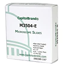 CapitolBrand M3504-E Borosilicate Glass Economy Grade Plain Microscope Slides, 3&#034; Length x 1&#034; Width x 1mm Thick (Box of 72)