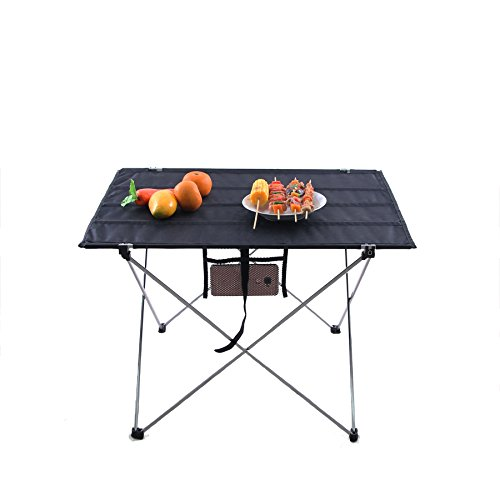 FiveJoy Roll Up Folding Camp Table with Carrying Case - Aluminum Frame Nylon Top - Easy Setup - Light, Compact, Portable, Ideal for Beach, Picnic, Fishing, Camping, Sports, Concerts, Events (Tailgating Gear compare prices)