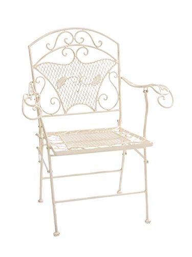 Nostalgie-Gartensessel-Stuhl-Sessel-Eisen-Klappstuhl-antik-Stil-creme-weiss