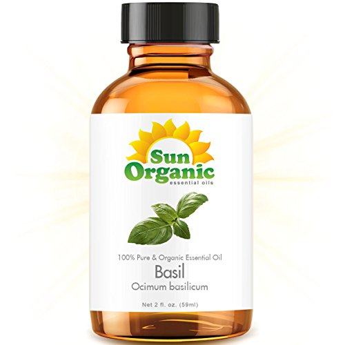 Organic Basil (2 Fl Oz) Essential Oil 100% Pure -- Best 2 Ounces (59Ml) -- Sun Organic