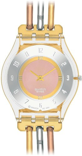 Swatch Ladies Tri Gold Stainless Steel Bracelet Watch