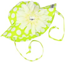 Flap Happy Baby-Girls Infant UPF 50+ Floppy Hat With Removable Flower, Kiwi Punch, Large