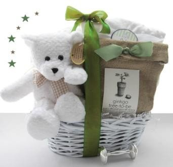 Green Eco-Friendly Plant-a-Tree New Baby Gift Basket - Great Shower or Christening Gift Idea for Newborns