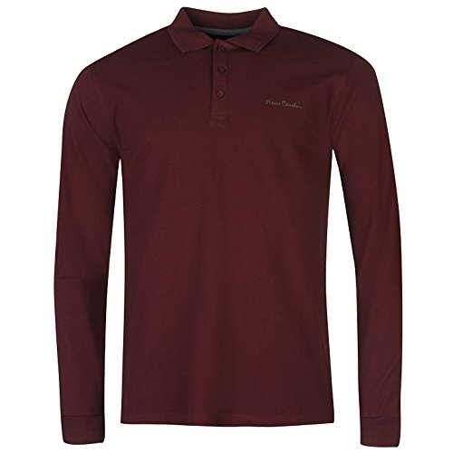 mens-designer-pierre-cardin-long-sleeve-knitted-polo-shirt-top-extra-large-burgundy