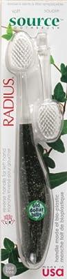 Radius Source Tooth Brush, Medium Bristles, (Adult), 1 Toothbrush + Refill, Colors May Vary (Pack of 3)