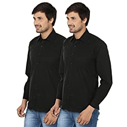 FOCIL Black Cotton Blend Casual Combo Shirt For Men (Pack of 2)