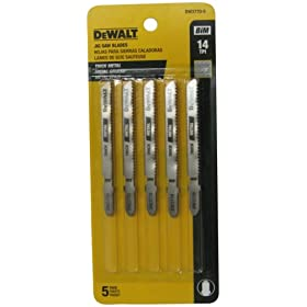 "DEWALT DW3770-5 3"" 14 TPI Thick Metal Cut Cobalt Steel T-Shank Jig Saw Blade - 5 Pack"