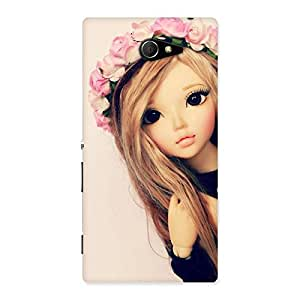 Stylish Pink Rose Doll Back Case Cover for Sony Xperia M2