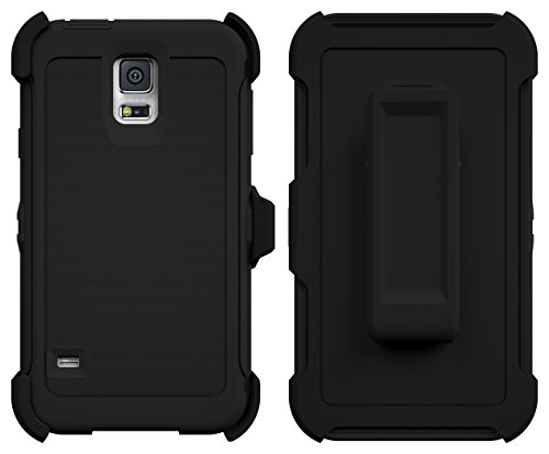 Galaxy S5 Case, ToughBox® [Armor Series] [Shock Proof] [Black] for Samsung Galaxy S5 Case [Built in Screen Protector] [With Holster & Belt Clip] [Fits OtterBox Defender Series Belt Clip] (Samsung Note 3 Platinum Case compare prices)
