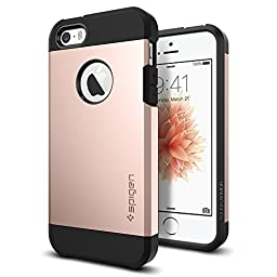 iPhone SE Case, Spigen® [Tough Armor] HEAVY DUTY [Rose Gold] EXTREME Protection Rugged Dual Layer Protective Case for iPhone 5 / 5s / iPhone SE (2016) - (041CS20190)