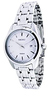 Seiko White Dial Stainless Steel Ladies Watch SXDE61