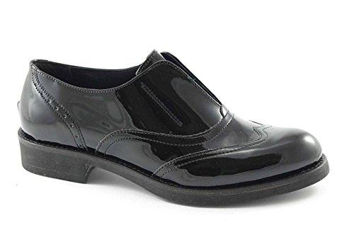 DIVINE FOLLIE 1310 nero scarpe donna francesina senza lacci puntale vernice 40