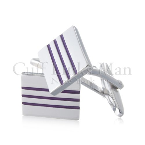 Traditional Rectangular Plum Striped Cuff Links-CL-0020
