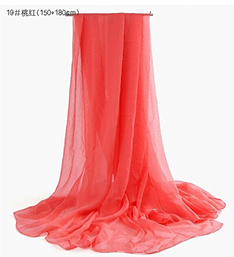 EVERMARKET Candy colors beach chiffon shawl silk scarf (red)