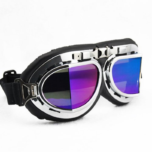 Vintage Style Military WWII RAF Pilot Chrome Plated Frame All Angle Dazzling Rainbow Color Spit Lens Elastic Strap Padded Frost Free Unisex Men Women UV Protection Goggles For Motorcycle BMX ATV Dirt Bike Biker Helmet Decoration Ice Ski Snowboard Cross Co