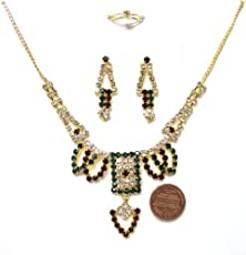 buy Bc92 Fashion Cz Faux Garnet Emerald Golden Look 4 Pcs Necklace Earring Ring Bargains Women India Indian Bollywood Fashion Jewelry Accessories Z Others