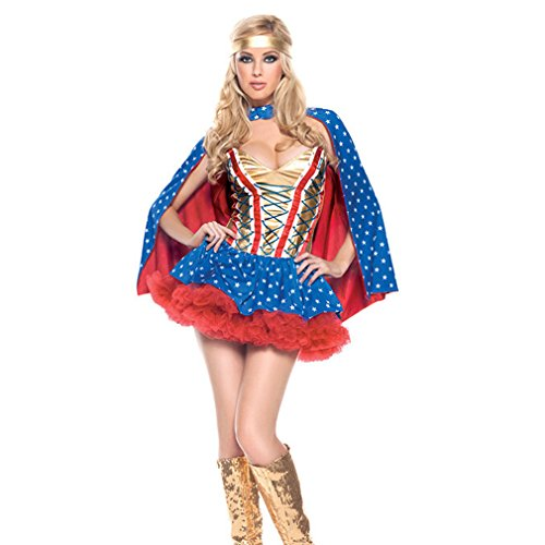 Bonamana Women Halloween Costume Cosplay Superhero Costume With Shawl