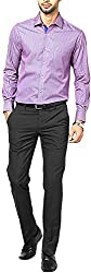 East West Men's Casual Shirt (Ew-Ts013_44, Blue With Red, 44)